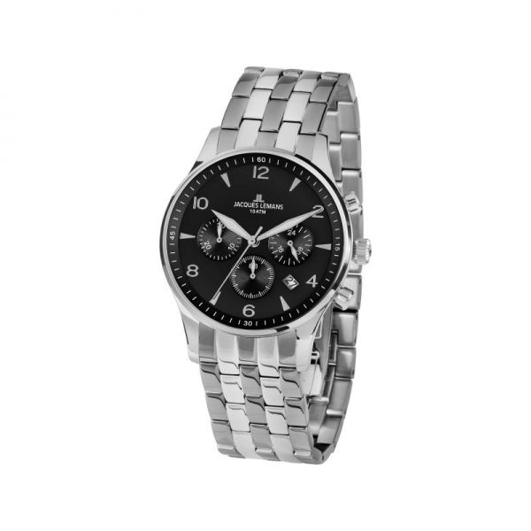 Jacques Lemans Mens Analogue Classic Quartz Watch with Stainless Steel Strap 1-1654ZE